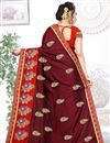photo of Maroon Color Art Silk Fabric Occasion Wear Saree With Embroidery Work And Mesmeric Blouse