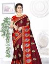 image of Maroon Color Art Silk Fabric Occasion Wear Saree With Embroidery Work And Mesmeric Blouse