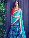 image of Designer Function Wear Banglori Silk Printed Blue Lehenga Choli