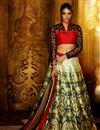 image of Beige Function Wear Designer Printed Lehenga Choli In Banglori Silk