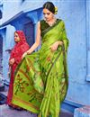 image of Digital Print Designs On Cotton Fabric Function Wear Saree In Green Color With Classic Blouse