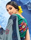 photo of Cotton Fabric Party Wear Saree In Grey Color With Digital Print And Beautiful Blouse