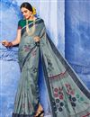 image of Cotton Fabric Party Wear Saree In Grey Color With Digital Print And Beautiful Blouse