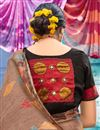 photo of Digital Print Designs On Light Brown Color Cotton Fabric Party Wear Saree With Mesmerizing Blouse
