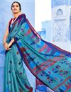 image of Occasion Wear Sky Blue Color Digital Print Saree In Cotton Fabric With Designer Blouse