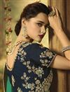 photo of Party Wear Art Silk Fabric Designer Cyan Saree With Embroidery