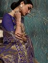 photo of Weaving Work On Art Silk Fabric Party Wear Saree In Navy Blue Color With Beautiful Blouse