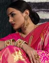 photo of Rani Color Designer Saree In Art Silk Fabric With Weaving Work Designs And Attractive Blouse