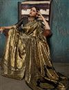 photo of Weaving Work Designs On Art Silk Fabric Brown Color Party Wear Saree With Mesmerizing Blouse