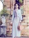 image of Party Wear Embroidered Fancy Art Silk Indowestern Style Grey Kurti