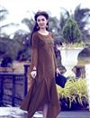 image of Brown Art Silk Party Style Embroidered Indowestern Style Kurti
