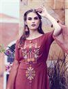 photo of Party Wear Embroidered Fancy Maroon Indowestern Style Art Silk Kurti