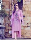 image of Art Silk Party Style Embroidered Indowestern Style Kurti In Pink