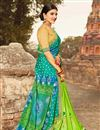 photo of Fancy Fabric Cyan Color Designer Bandhani Style Printed Saree