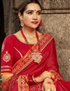 photo of Fancy Fabric Red Color Bandhani Style Printed Designer Saree
