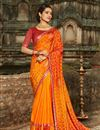 image of Orange Color Fancy Fabric Party Wear Bandhani Print Saree