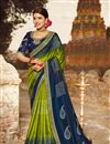image of Bandhani Style Printed Saree In Green Color  Fancy Fabric