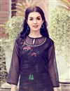 photo of Black Color Party Style Printed Readymade Fancy Fabric Kurti