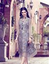 image of Grey Color Fancy Fabric Party Wear Printed Long Kurti