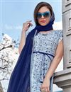 photo of Blue Office Party Style Fancy Printed Kurti In Pashmina Fabric