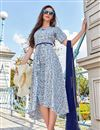 image of Blue Office Party Style Fancy Printed Kurti In Pashmina Fabric