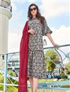 image of Fancy Party Style Printed Kurti In Grey Pashmina Fabric