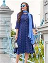 image of Navy Blue Party Style Fancy Kurti In Pashmina Fabric With Print Work