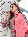 photo of Fancy Pashmina Fabric Party Style Grey Printed Designer Kurti