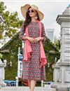 image of Fancy Pashmina Fabric Party Style Grey Printed Designer Kurti