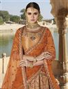 photo of Designer Function Wear Art Silk Fancy Embroidered Orange Lehenga Choli