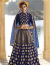 image of Function Wear Art Silk Traditional Embroidered 3 Piece Lehenga Choli In Navy Blue