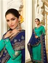 image of Aqua Color Designer Straight Cut Embroidered Salwar Kameez In Fancy Fabric