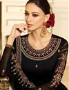 photo of Fancy Fabric Party Wear Designer Straight Cut Salwar Suit In Black Color