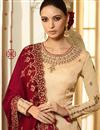 photo of Cream Color Embroidery Work On Satin Fabric Desginer Straight Cut Salwar Kameez