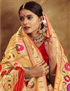 photo of Silk Fabric Golden Color Jacquard Work Designer Saree With Designer Blouse
