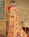 image of Silk Fabric Golden Color Jacquard Work Designer Saree With Designer Blouse