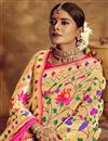 photo of Silk Fabric Golden Color Saree With Jacquard Work And Beautiful Blouse