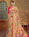 image of Silk Fabric Golden Color Saree With Jacquard Work And Beautiful Blouse