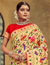 photo of Saree In Silk Fabric Golden Color With Jacquard Work And Attractive Blouse