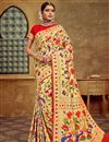 image of Golden Color Silk Fabric Function Wear Saree With Jacquard Work And Astounding Blouse