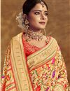 photo of Jacquard Work On Occasion Wear Saree In Golden Color With Designer Blouse