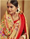 photo of Jacquard Work On Reception Wear Saree In Silk Fabric Golden Color With Charming Blouse