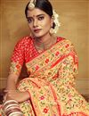 photo of Jacquard Work On Silk Fabric Designer Saree In Golden Color With Designer Blouse