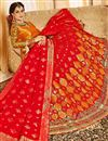 image of Silk Fabric Designer Bridal Lehenga With Embroidery Work On Red Color