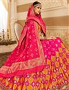 image of Rani Color Sangeet Wear Lehenga With Jacquard Work In Silk Fabric