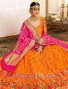 photo of Orange Color Silk Fabric Wedding Wear 3 Piece Lehenga Choli With Jacquard Work