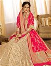 image of Jacquard Work Occasion Wear Lehenga In Silk Fabric Chikoo Color