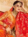 photo of Jacquard Work Silk Fabric Orange Color Festive Wear Lehenga With Jacquard Work