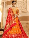 image of Jacquard Work Silk Fabric Orange Color Festive Wear Lehenga With Jacquard Work