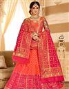 image of Pink Color Silk Fabric Occasion Wear Lehenga Choli With Jacquard Work